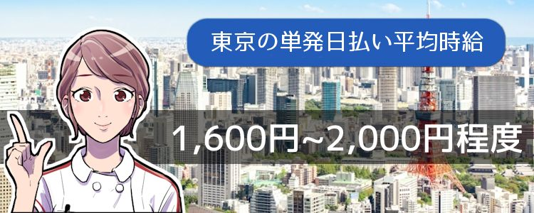 東京の単発日払い平均時給