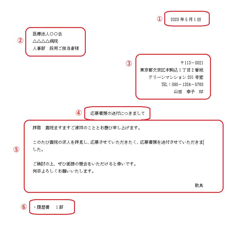 看護師_履歴書_書き方6_送付方法