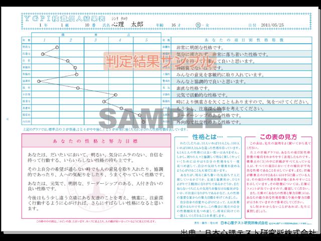 YG性格検査サンプル