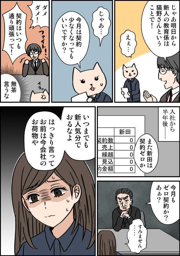 営業のパワハラの漫画