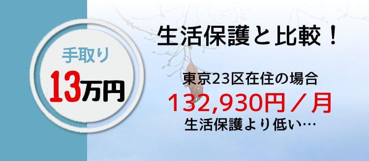 手取り13万円生活保護と比較